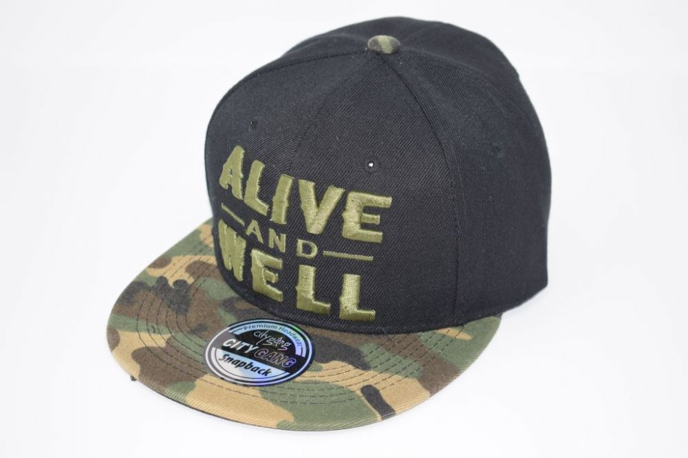C4885- 'ALIVE AND WELL' Black/Camouflage Snapback Cap one size fits all adjustable